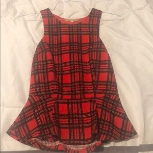 Gianni Bini red plaid peplum tank top